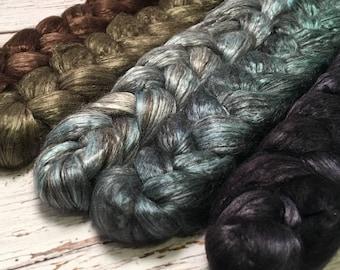 Handpainted Yak/Silk Roving Bundle - 5 oz. TRIBE - Spinning Fiber