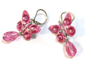 Butterfly Earrings with  Sparkling Rose Crystals