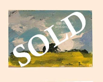 SOLD--------------Trees in field, Original Painting, Artist Trading Card, ACEO, Original Art, Small format Art, Miniature Painting,Winjimir,