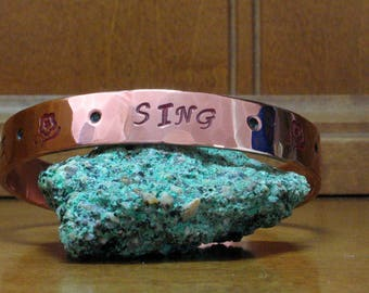 Dance Sing Love - Hand Stamped Painted Hammered Copper Bangle Cuff Bracelet - Handpainted Copper Stacking Bracelet - Words to Live By