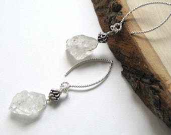 Herkimer Diamond Earrings, Raw Gemstones, Clear Nuggets and Sterling Silver, Unique Gift for Anniversary, Rustic Earrings