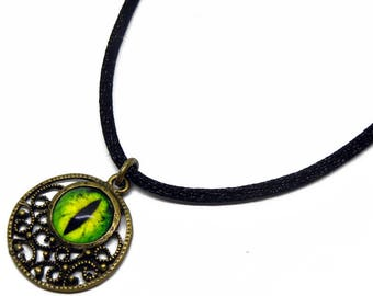 Eye Pendant Glass Dragon Eye Jewelry Green Dragon Eye Antiqued Brass Filigree Pendant with Necklace