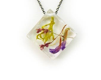 Purple Dried Flower Botanical Eco Resin Terraruium Necklace