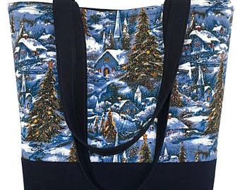 Christmas village tote bag, Navy Blue tote bag, Christmas theme bag, snow village, Market bag, Library book bag, Craft tote, gift for her,