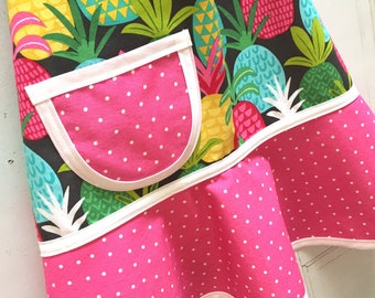 Pineapple Kids Apron, Little Girls, Child, Toddler, Cooking, Baking, Craft Apron, Pretend Play - TROPICAL PINEAPPLES