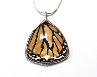 Butterfly Necklace with Antique Faceted Glass Triangle Jewel and Real Monarch Butterfly