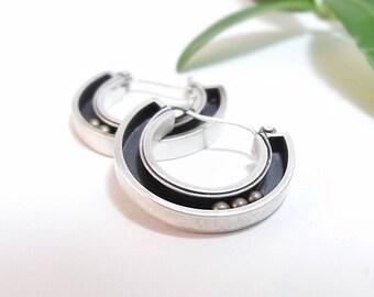 Sterling Silver Hoop Earrings Round Earrings Handmade Kinetic Earrings Kinetic Jewelry Silver Brass Gifts For Her