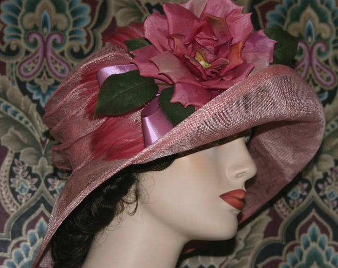 Featured listing image: Kentucky Derby Hat Ascot Edwardian Hat Gatsby Hat Downton Abbey Hat Church Hat One of a Kind Titanic Women's Pink Easter Hat - Rosy O'Brian