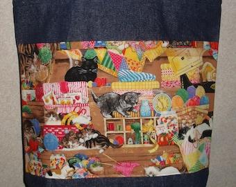 New Handmade Large Cats Kitties Kittens Pets Sewing Yarn Denim Tote Bag
