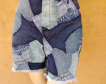 Vintage 1970s Mens Shorts 70s Denim Patchwork Cut Offs W36