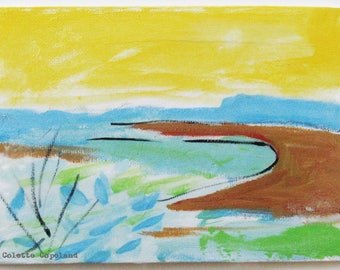 Original acrylic sketch on canvas board, landscape, small painting