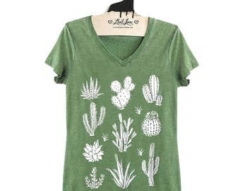 Fitted S,M,XL-  Vintage Dye Green V-Neck Tee with Cactus Screen Print-