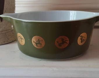 Mid Century Green Pyrex Promotional Zodiac Casserole Dish Bowl