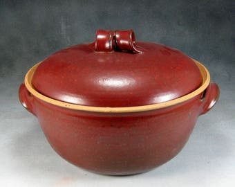 Pottery Casserole Dish DISCOUNTED Red Large Ceramic Casserole Dish With Lid Wheel Thrown Stoneware Pottery 2