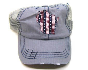 Clearance - Sale - Gift - Gracie Designs Hat - Patriotic Wisconsin on Gray Distressed Trucker