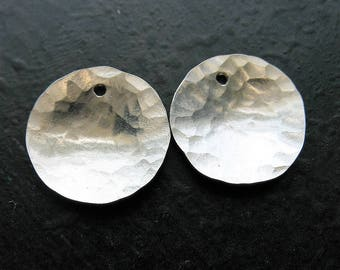 12mm Hammered Bright Sterling Silver Disc Charms - 1 pair - Single Hole Petite Charms