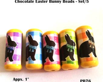Chocolate Easter Bunny Beads  -  Handmade Paper Tube Beads - Set/5 Beads -  PB76