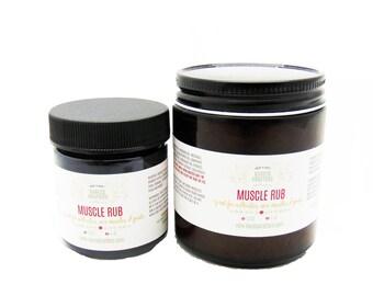 Muscle Rub - Arnica Rub - Menthol Rub - Runner's Rub, Gardener's Rub with Turmeric Camphor, Cayenne, Sore Muscles 1.8oz or 4oz