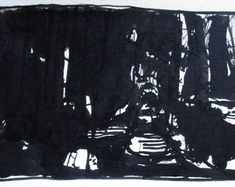 Forest Time, Orginal India Ink Abstract Landscape Drawing on Paper, Stooshinoff