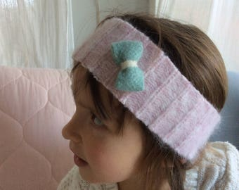 ear warmer/headband,soft and cozy,warm and fuzzy,eco friendly,earwarmers,reclaimed sweater,little girls,size 5-12 years, light pink