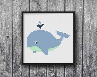 Ocean Whale Nautical Sailing Theme Blue Sail Cross Stitch Pattern  Embroidery Baby Nursery Print DIY Art Decor Shower Gift Modern Kids