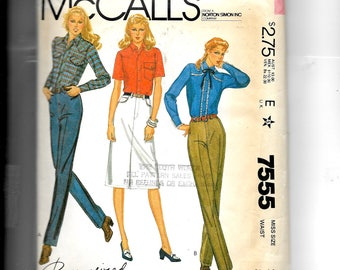 McCall's Misses' Jeans and Jean Skirt Pattern 7555