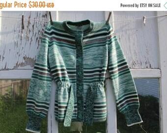 SALE- Vintage Green Cardigan-Carsom Pirie Scott-Acrylic-Striped-Button Up