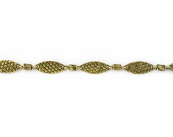 Antique Brass 15mm Hammered Oval Chain #CC109