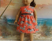 "18"" Doll Clothes Dress Fits Like American Girl Zebras on Orange Background"