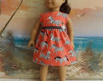 "18"" Doll Clothes Dress Fits Like American Girl Zebras on Orange Background"