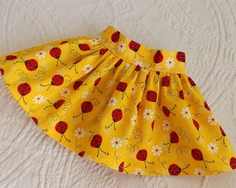 18 Inch Doll Clothes Bright Yellow With Red Lady Bugs Very Fully Gathered 50s Style Skirt with Waistband will fit AG