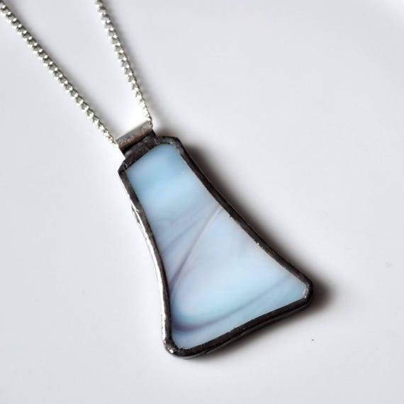 Recycled Stained Glass Jewelry Pendant - Blue