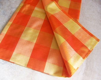Hand Loomed Scarf .Tangerine Orange and Yellow . Plaid . 29 Inches Square