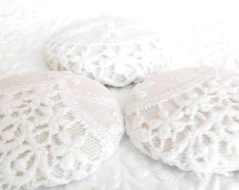 3 floral lace buttons, white with beige underlay,  1 7/8 inches, 1.9 inches, 4.7 cm, 48.26 mm, size 75 buttons
