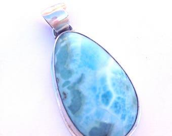 Large Larimar Pendant Sterling Silver Ocean Blue Teardrop Dominican Republic