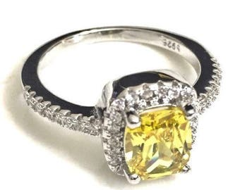 Canary Yellow Halo Ring Sterling Silver Diamond Hybrid Engagement Size 7