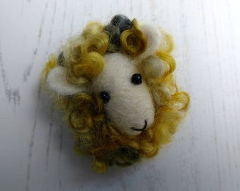 Needle Felted Sheep Brooch - Mustard Yellow and Grey - Hand Dyed Wensleydale - British Wool - Gift for Knitters - Gift for Spinners