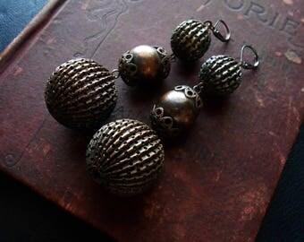 marrakesh copper filigree graduated oxidized copper beaded earrings - heavy weight statement earrings ear weights