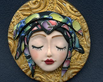 OOAK Polymer clay Detailed Caned hat face cab ANGOG 2
