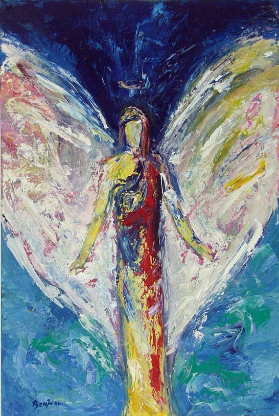 Angel Joy's Deliverance Vision of Angels Print of an Original Painting by artist BenWill