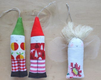 Patchwork elf duo with angel friend Christmas tree decorations no. 1