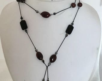 Bordeaux Wine color beaded Lariat on Griffin Sik