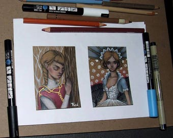 2 ACEOs - original pencil drawings illustration art by Tanya Bond - collectable miniature art