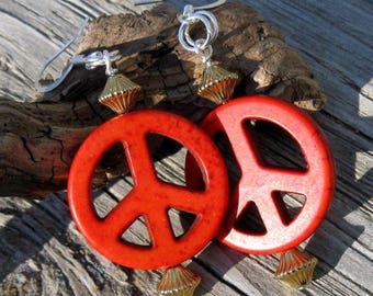 Bright Howlite Peace Sign Earrings