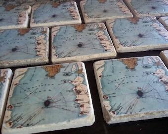 Custom Map Coasters - Set of 7
