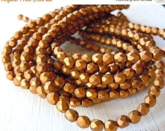 25% OFF Summer Sale Czech Glass Beads 4mm Matte Metallic Goldenrod - 50 pcs (G - 32)