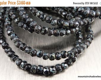 25% OFF Sale Czech Glass Beads 2x3mm Rondelle Jet Picasso 50 pcs (G - 162)