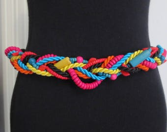 Vintage 80s Belt Colorful Rainbow Braided Cord Beaded Beads Stretch 30 to 33 Inches Medium Large Black