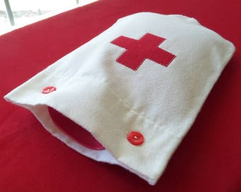 Back in Stock - Cream Flannel Hot Water Bottle Cover With Red Heart or Red Cross Applique