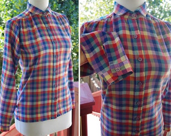 PLAID 1970's 80's Vintage Blue Red + Yellow Checkered Plaid Blouse w/ Long Sleeves // size XS Small // by Levi's